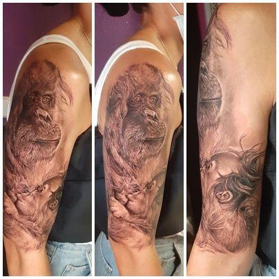 Tatuaje orangutan realismo