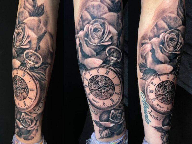 relojes y rosas tattoo