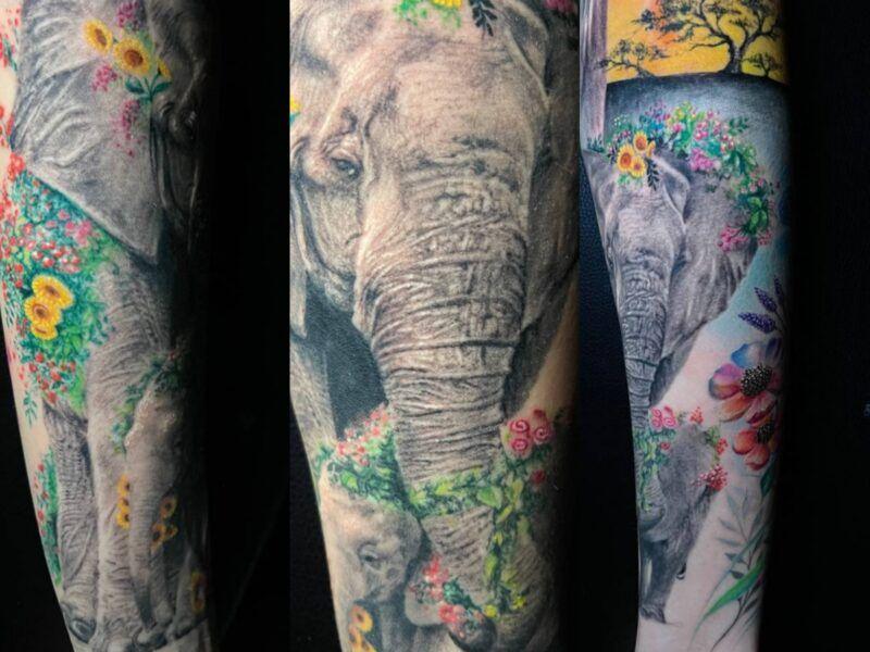 tatuajes de elefantes realismo