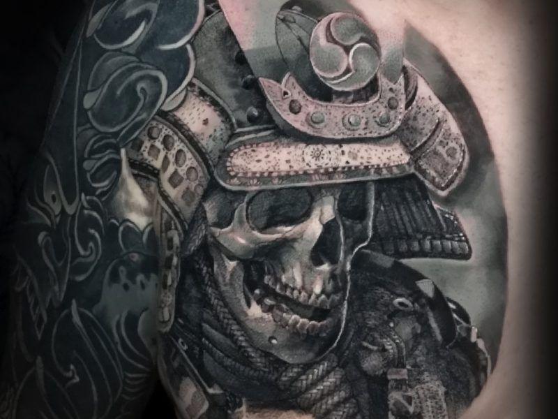 tatuaje samuray calavera